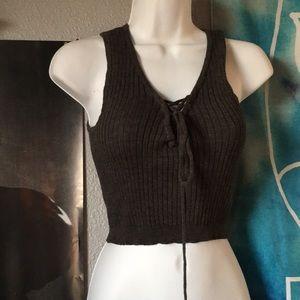 lace up vest crop top